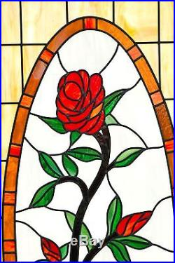 Huge Stained Glass Window With Rose 73 X 31 1 2 Beautiful Piece