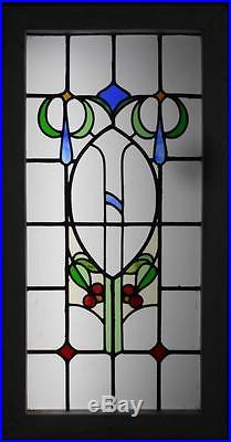 LARGE OLD ENGLISH LEADED STAINED GLASS WINDOW Beautiful Floral 22.5 x 43