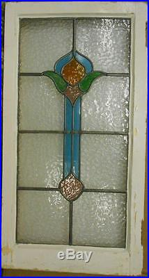 LARGE OLD ENGLISH LEADED STAINED GLASS WINDOW Cute Abstract Drop 18 x 34.25