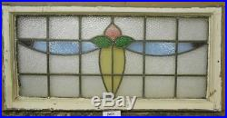 LARGE OLD ENGLISH LEADED STAINED GLASS WINDOW Floral Swag Transom 36.5 x 18