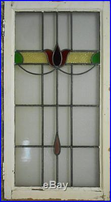 LARGE OLD ENGLISH LEADED STAINED GLASS WINDOW Nice Floral 20.5 x 38.5