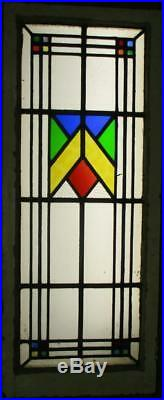 LARGE OLD ENGLISH LEADED STAINED GLASS WINDOW Pretty Geometic 18 x 44.75