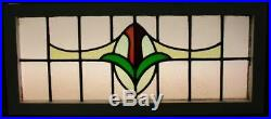 LARGE OLD ENGLISH LEADED STAINED GLASS WINDOW Wonderful Floral 36 x 15.75