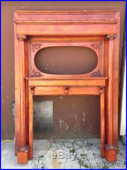 Large Antique Fireplace Mantel w Columns & Spot for an Oval Mirror Full Mantle