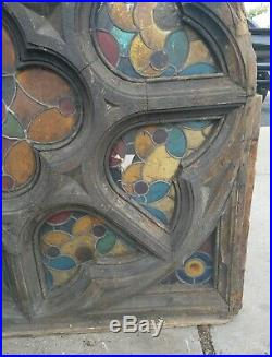 Large Antique Late 1800's Church Stained Glass Window Architectural Salvage