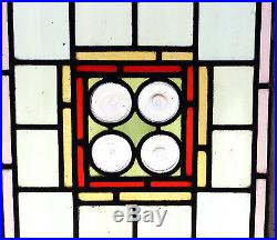 Large Antique Stained Glass Window Six (6) colors Eight (8) Rondelles (3019)