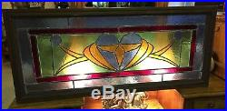 Large Antique Vintage Stained Glass Heart Window Stain Glass Above Door
