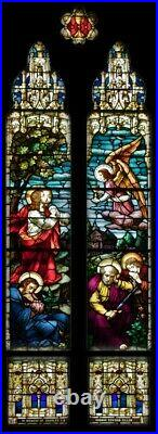 Large Set of 14 Gothic German Mayer of Munich Church Stained Glass Window Set