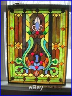Large Stained Glass Window Hanging Panel/ Vintage 25 x 19