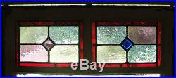 Large Tall Pair of Antique Stained Glass Windows Fantastic Glass (1334)