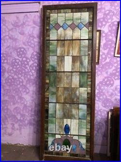 Large Vintage Antique Leaded Stained Glass Church Window 30 3/4x 89 3/4