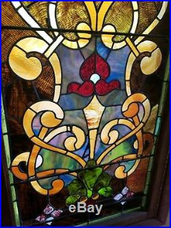 Large antique stained glass window, 9 ft 2 in tall by 2 ft 4 in wide