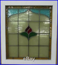 MID SIZED OLD ENGLISH LEADED STAINED GLASS WINDOW Bordered Floral 21.5 x 24.5