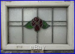 MID SIZED OLD ENGLISH LEADED STAINED GLASS WINDOW Floral Band 23.75 x 16.25