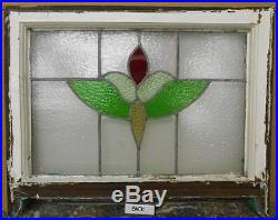 MID SIZED OLD ENGLISH LEADED STAINED GLASS WINDOW Floral Sash 24.75 x 17.75