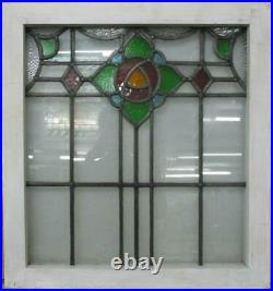 MIDSIZE OLD ENGLISH LEADED STAINED GLASS WINDOW Mackintosh Rose 22 x 23.75