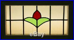 MIDSIZE OLD ENGLISH LEADED STAINED GLASS WINDOW Pretty Simple Floral 23.5 x 13