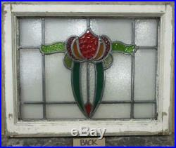 MIDSIZE OLD ENGLISH LEADED STAINED GLASS WINDOW Vibrant Abstract 22.5 x 18