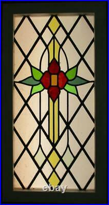 MIDSIZE OLD ENGLISH STAINED GLASS WINDOW Diamond Leaded Floral 16.25 x 31.5