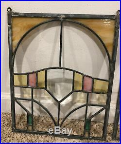 Matching Pair Stained Glass Window Wall Hanging Arts & Crafts Craftsman
