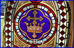 + Nice Vintage Antique Stained Glass Window + Cross & Crown + + chalice co