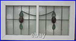 OLD ENGLISH LEAD STAINED GLASS WINDOW TRANSOM Double Floral Swag 35.5 x 19.25