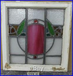 OLD ENGLISH LEADED STAINED GLASS WINDOW Colorful Abstract Floral 18 x 19.5