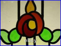 OLD ENGLISH LEADED STAINED GLASS WINDOW Colorful Floral Design 20.25 x 19