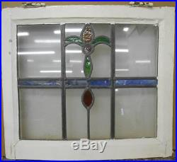 OLD ENGLISH LEADED STAINED GLASS WINDOW Curved Frame Abstract Design 20.5 x 18