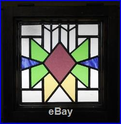 OLD ENGLISH LEADED STAINED GLASS WINDOW Geometric 17.5 x 17.5