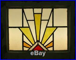 OLD ENGLISH LEADED STAINED GLASS WINDOW Gorgeous Geometric Burst 20.5 x 16.5
