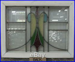 OLD ENGLISH LEADED STAINED GLASS WINDOW Gorgeous Sweep Design 18.5 x 14.5