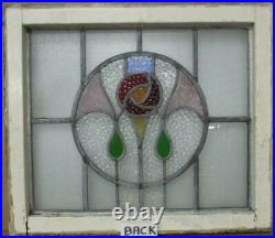 OLD ENGLISH LEADED STAINED GLASS WINDOW Lovely Rose in Circle Design 22 x 19