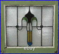 OLD ENGLISH LEADED STAINED GLASS WINDOW Nice Abstract with Heart 20.25 x 18.75
