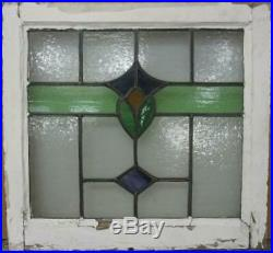 OLD ENGLISH LEADED STAINED GLASS WINDOW Pretty Band Design 21.75 x 20.25
