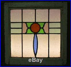 OLD ENGLISH LEADED STAINED GLASS WINDOW Pretty Circle & Drop 19.75 w x 20 h