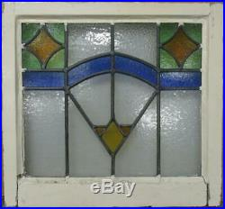 OLD ENGLISH LEADED STAINED GLASS WINDOW Pretty Geometric Design 21.5 x 20