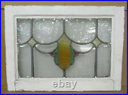 OLD ENGLISH LEADED STAINED GLASS WINDOW Pretty Shield Design 20.75 x 15.25