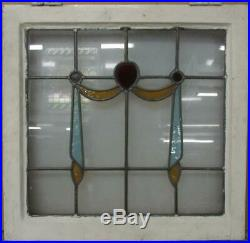 OLD ENGLISH LEADED STAINED GLASS WINDOW Pretty Swag Design 20.75 x 20.25