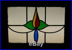 OLD ENGLISH LEADED STAINED GLASS WINDOW Stunning Floral Design 23 x 16.75
