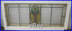 OLD ENGLISH LEADED STAINED GLASS WINDOW TRANSOM Abstract design 35 x 16.5
