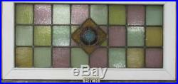OLD ENGLISH LEADED STAINED GLASS WINDOW TRANSOM Colorful Diamond 34.75 x 17.5