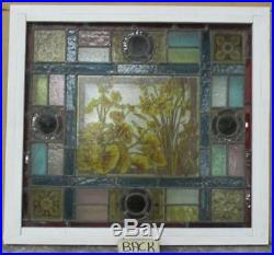 OLD ENGLISH LEADED STAINED GLASS WINDOW Victorian HP Floral 21.75 x 20