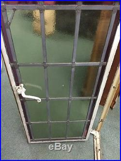 Old Antique Vintage Metal Casement Window Leaded Stained Glass