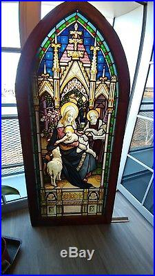 Painted on 2 Sides Stained Glass Church Window ca1880 Holy Mary, Joseph, Jesus