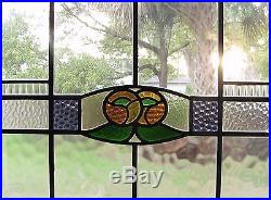 Pair Antique English Macintosh Rose Arts Crafts Stained Glass Window Maple Frame