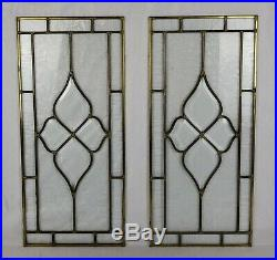 Pair of Antique German Leaded Glass Windows Floral Crystal Pattern 24.5x11