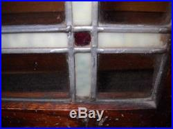 Pair of Antique Leaded Stained Glass Cabinet Doors Arts and Craft Style Art Deco
