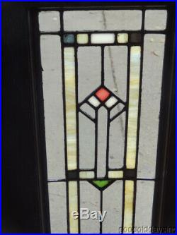 Pair of Antique Stained & Clear Leaded Glass Doors / Windows 48 x 13