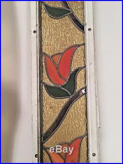 Pair Of Antique Stained Gl Side Light Window Panels Architectural Salvage